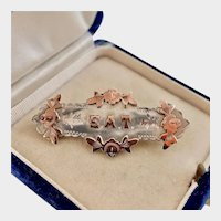 EAT, Antique Pin, Silver and Rose Gold