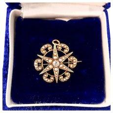 Victorian 14k Star Pendant Brooch, Diamond, Seed Pearls