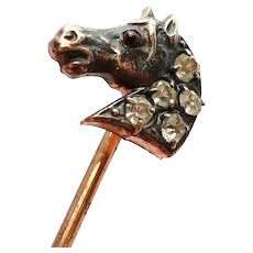 Victorian Horse Head Stick Pin with Pastes