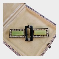 Art Deco Brooch in Green and Black with Pastes, France