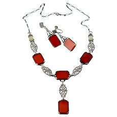Art Deco Carnelian with Chalcedony Necklace and Earrings Set