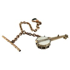 Victorian Banjo Fob Charm, Highly Detailed, Mother of Pearl and RGF