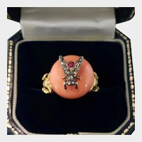 Amazing Diamond and Ruby Fly Ring, Coral, 18k YG