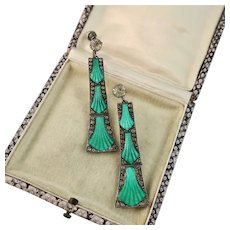 French Art Deco Guilloche Enamel and Paste Earrings, 2-1/2""