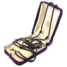 "Victorian Black Glass Bead Guard Chain Necklace, 50"""