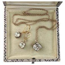 Vintage Paste Earrings and Pendant Set, Edwardian Style