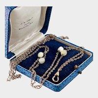 "Victorian Guard Chain, MOP Beads, RGF, 52"""