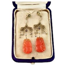 Antique Chinese Carnelian and Seed Pearl Earrings, 14k Gold, 2-3/4""
