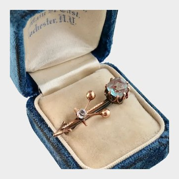 Victorian Saphiret and Paste Pin, 9k Rose Gold