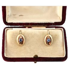Victorian Natural Sapphire Earrings, 14k Gold