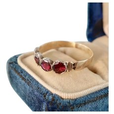 Georgian Half Hoop Garnet Ring, 10k Gold
