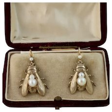 Antique Fly Earrings with Pearls, Gilt Silver, 14k Wires