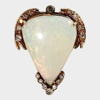 Victorian Huge Opal Heart Ring with Diamonds, Conversion, 14k RG