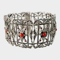 Art Deco Wide Sterling Bracelet with Coral, Rubies, Enameling, and Marcasites