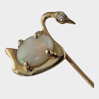 Antique Swan, Opal and Diamond Stick Pin, 14k