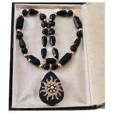 Victorian Onyx, Pearl, Diamond Locket Necklace, 14k Gold