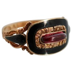 Georgian Garnet and Black Enamel Ring, 18k, Size 6