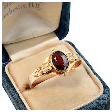 Antique Garnet Ring, 18k Gold, Size 12