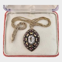 Antique Rock Crystal, Garnets, and Seed Pearls Pendant, 14k with Chain