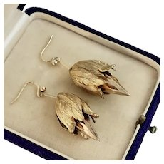 Antique Bell Flower Earrings, 9k Gold and Gilt