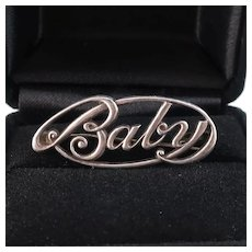 Baby Pin Brooch, c1930, Sterling Silver