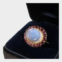 Victorian Moonstone and Rubies Brooch, 9k Gold