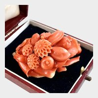 Ornate Victorian Coral Brooch with Fly, Fruit, Flowers, 14k Gold