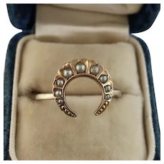 Victorian Crescent Moon Ring with Seed Pearls, FIX and 10k