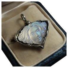 Art Nouveau Woman's Face Pendant, Iridescent Glass, Silver