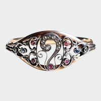 Art Nouveau Ornate Bangle Bracelet, Pastes and Topaz, Silver and Gold Fill