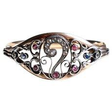 Art Nouveau Ornate Bangle Bracelet, Pastes and Topaz, Silver and Gold Fill