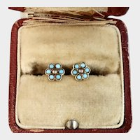 Tiny Victorian Earrings, Turquoise and Seed Pearl, 14k