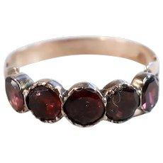 Georgian or Early Victorian Garnet Half Hoop Ring, 10k Rose Gold