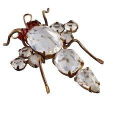 Edwardian Bug Brooch, Brilliant Pastes