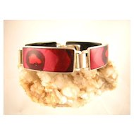 Vivid Red Modern German Enameled Bracelet, Unmarked Perli