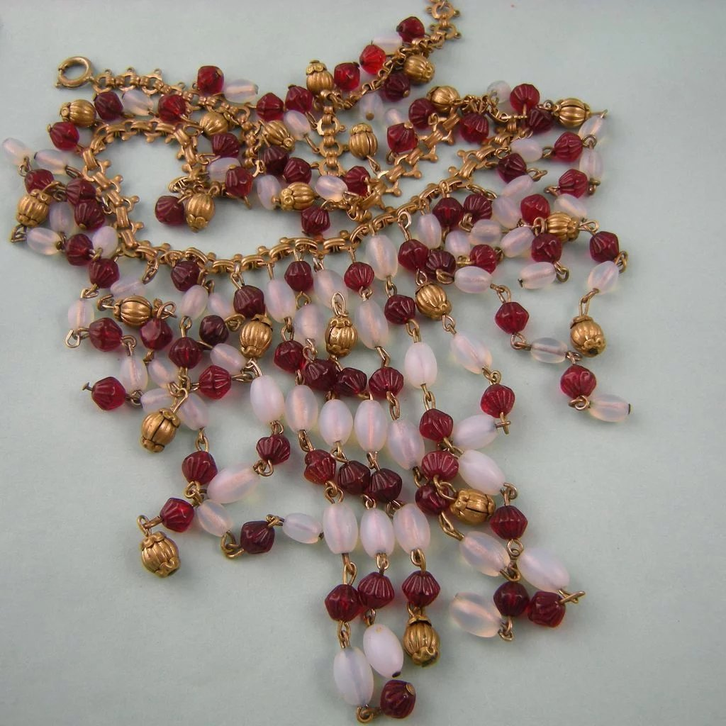 Art Deco Fringe Bib Necklace, Ruby Red and Opalescent ...