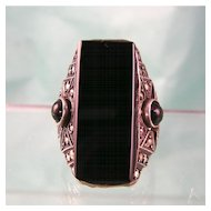 Art Deco Sterling Germany Onyx Ring, Big and Bold