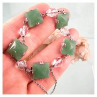 Unusual Aventurine, Rock Crystal, and Sterling Art Deco Bracelet