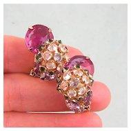 Prettiest Schreiner Earrings, Complex Design, Colors!