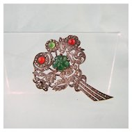 Art Deco Sterling Marcasite Chrysoprase, Carnelian Brooch, France