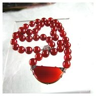 Luxuriant Carnelian Bead Necklace with Art Deco Centerpiece