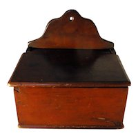 19th C. Dovetailed Cherry Wall box in Original Red Paint
