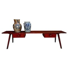 19th C. Tapered Splay Legged Bench w/ Drawers in Original Red Paint