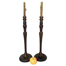 """20 3/4"""" Tall Wooden Candlesticks in Original Paint"""