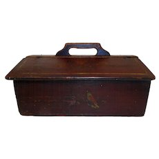 Early 19th C. Primitive Paint Decorated Lidded Cutlery Box