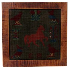 19th C. Needlework in Tiger Maple Frame w/ Horse and Birds