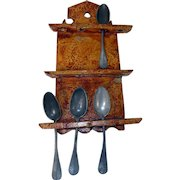 18th C. Paint Decorated Walnut Spoon Rack
