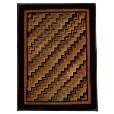 Early 1900's Geometric Hooked Rug on Stretcher