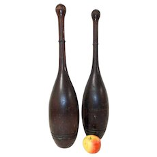 Monumental Matched Pair of 19th C. Indian Clubs