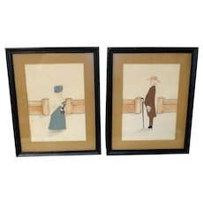 mid-20th Century Mixed Media Quaker Portraits Silhouettes by Doris McChesney of Odessa, DE after R Bye